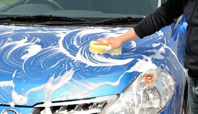 Wash the car softly.