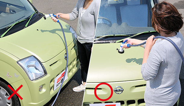 Prevent the hose from coming in contact with the car body.