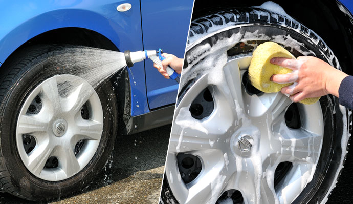 Rinse to remove major dirt and use car shampoo.