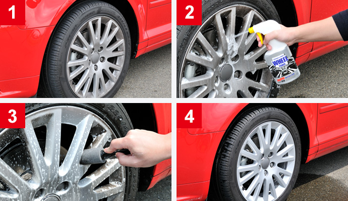 Remove difficult dirt from wheels, using wheel cleaners!