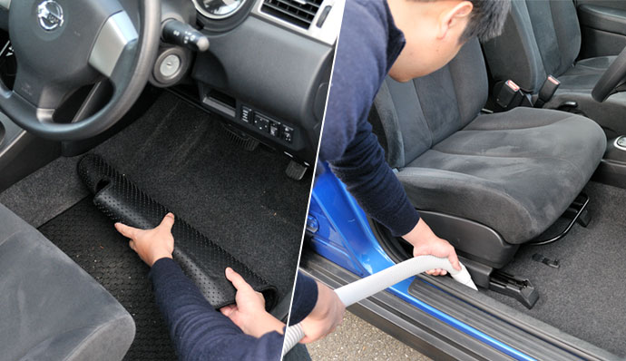 Remove floor mats and vacuum the car interior.