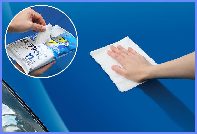 サッと拭くだけで洗車とワックスができるシートが便利!