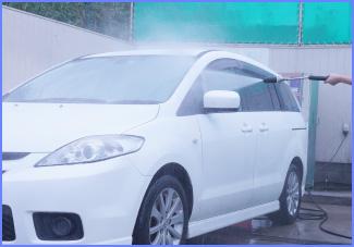 コイン洗車をスタートし、まずは車全体を水洗い!