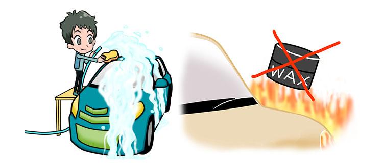 シャンプーの泡がスグに乾いてシミになったり、ワックスやコーティング剤もムラになりやすい